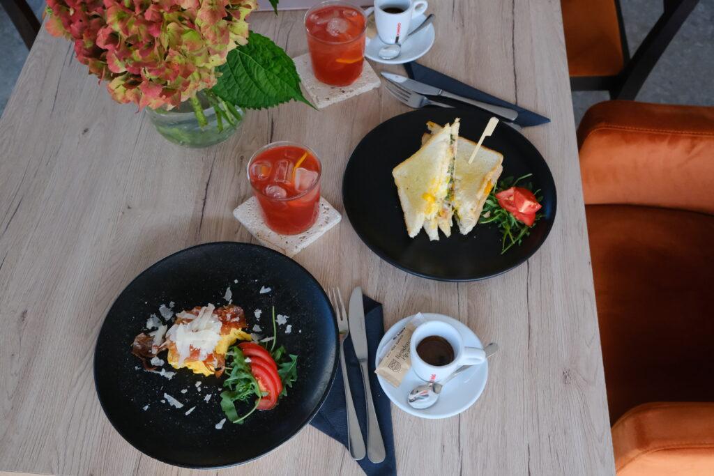 Breakfast with homemade tea or a double decker sandwich